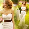 Vestido de la princesa de arrastre pequeña nalga fishtail vestido de novia de la boda
