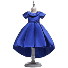 Lace Blue Puffy Flower Girl Dresses 2018 Scoop Satin Appliques Communion Dresses Pageant Dresses For Little Girls 2017 cupcake blue crystal flowers baby girl dresses pageant dresses for little girls g284 1