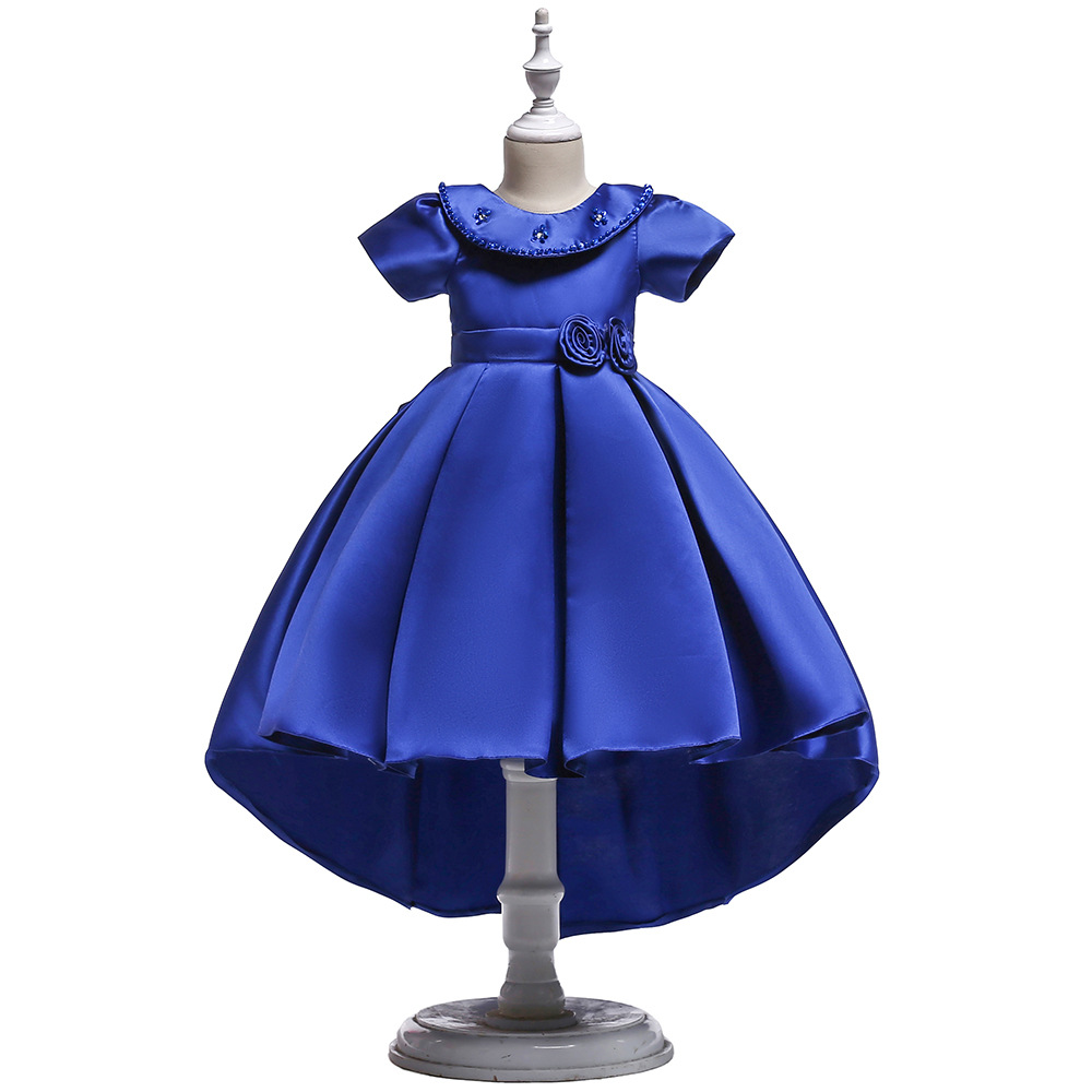 Lace Blue Puffy   Flower     Girl     Dresses   2018 Scoop Satin Appliques Communion   Dresses   Pageant   Dresses   For Little   Girls