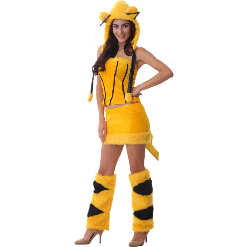 halloween costumes adult woman sexy animal yellow pikachu caterpillars costume fancy dress. Black Bedroom Furniture Sets. Home Design Ideas