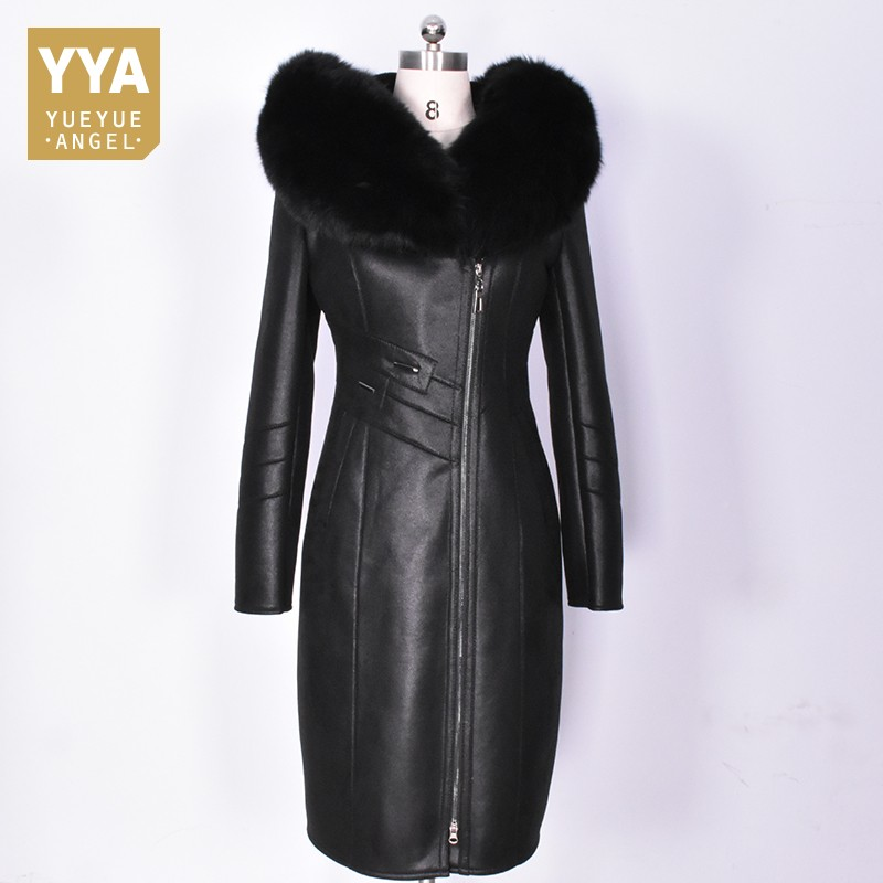 Top Brand Women Maxi Long Real Fur Jacket Plus Size 8XL Slim Fit Leather Overcoat Fox