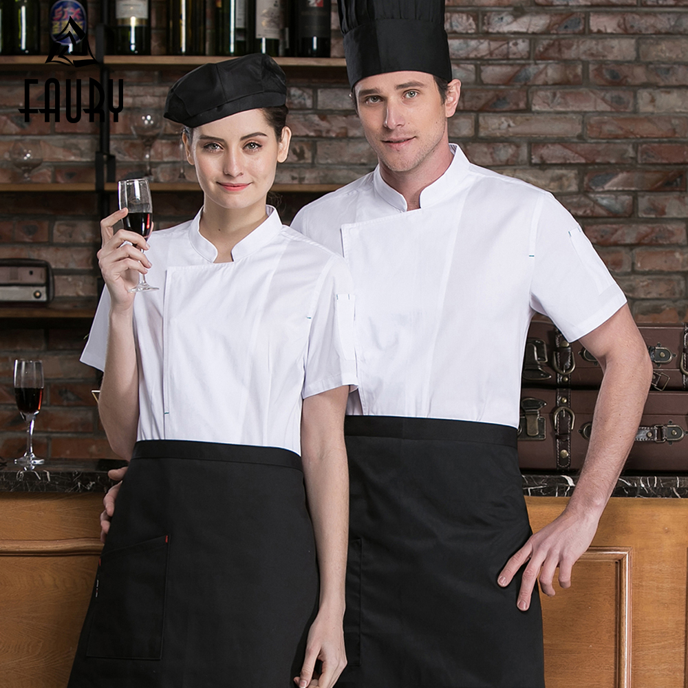 Solid Men Women Chef Short Sleeve Kitchen Workwear Jackets High Quality Wholesale Food Service Cooking Uniforms Sushi Coat Tops