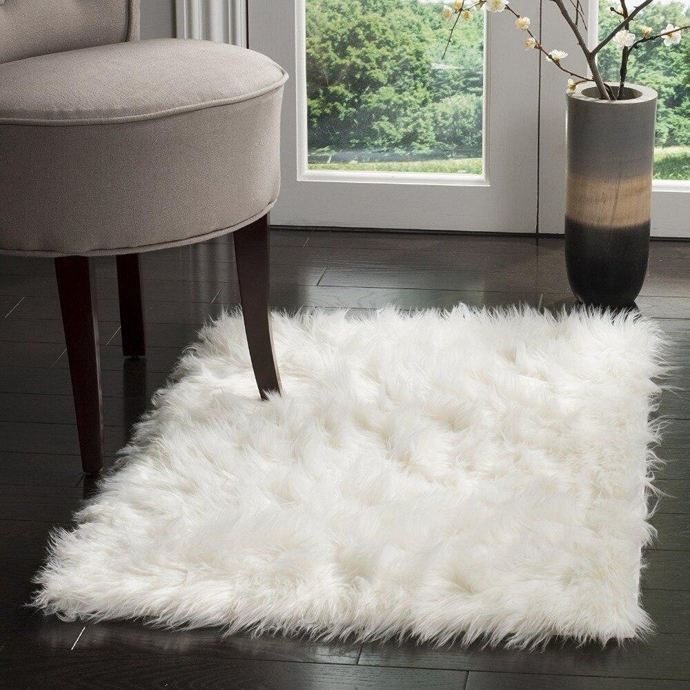 2017 Faux tapis en peau de mouton tapis doux couverture de chaise coussin de siège plaine peau fourrure plaine moelleux tapis lavable chambre Faux tapis