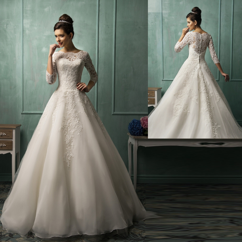 Simple And Elegant Wedding Dresses Boat Neck Three Quarter: Elegant Ball Gown Wedding Dresses Romantic Appliques Lace