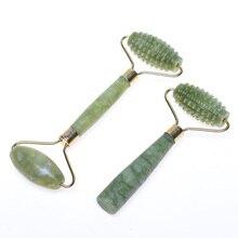 Лидер продаж двойной головкой зеленый нефритовый ролик-массажер для глаз и лица шеи подтягивание лица тонкий уход за лицом против морщин инструменты красоты