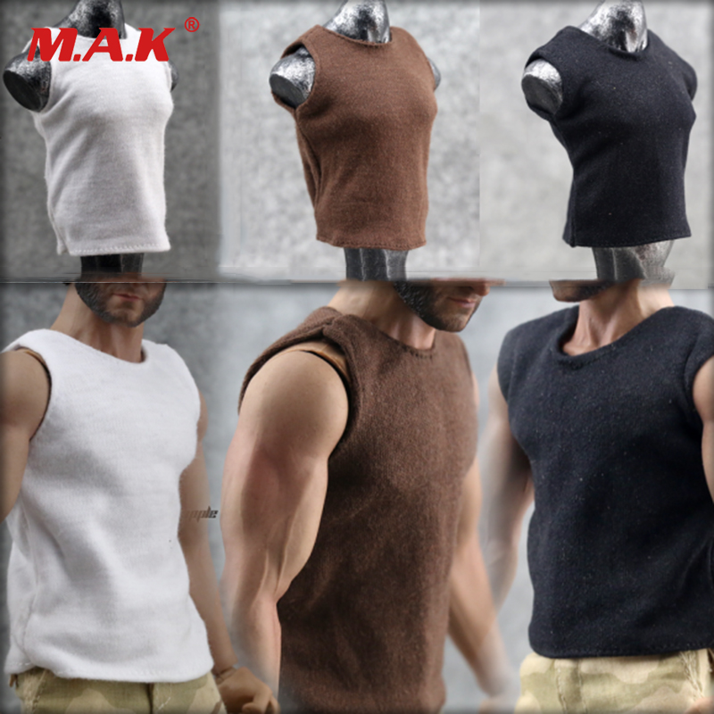 1/6 Military Soldier Action Figure Brown Black White Vest Men's Underwear Model Vest 12