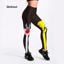 Qickitout レギンス 2018 ドロップシッピングフィットネスパンツ女性素敵な漫画の猫とアヒルプリント女性かわいいカジュアルレギンス