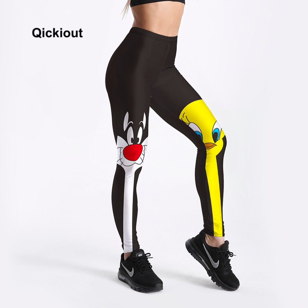 Qickitout   Leggings   2018 Drop Shipping Fitness Pants Women Lovely Cartoon Cat and Duck Printed Women Cute Casual   Leggings