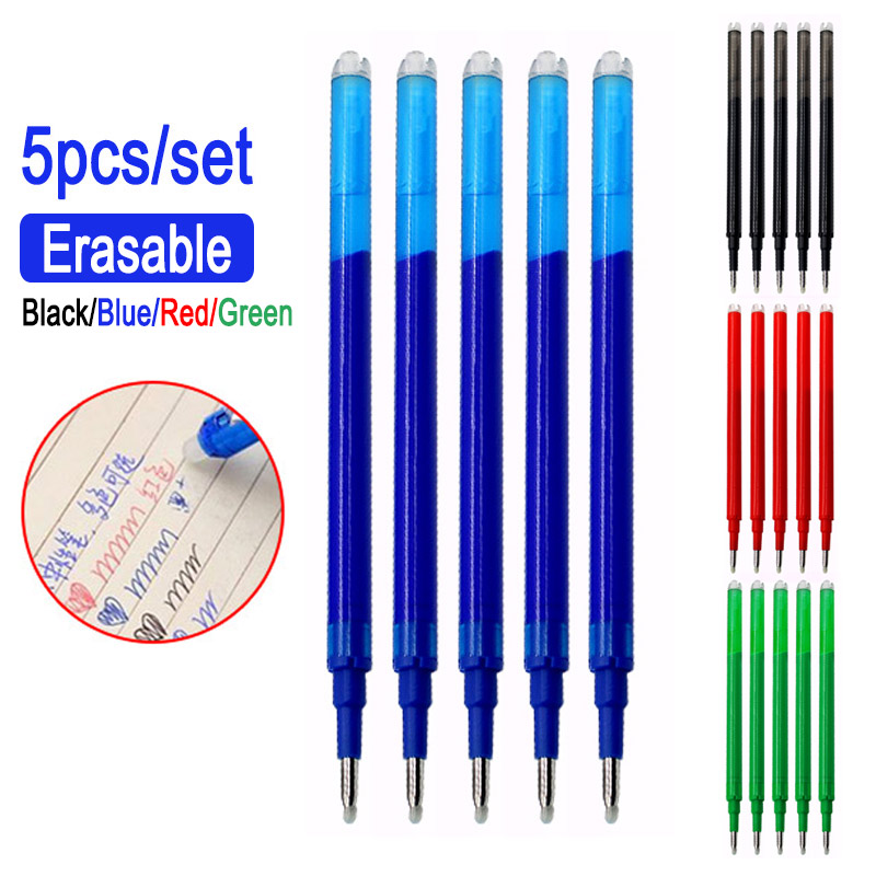 0.5mm Magic Erasable Pen Button Slide Press Erasable Pen Refill Gel Pen Red/Blue/Black/Green Ink Office School Stationery Gift