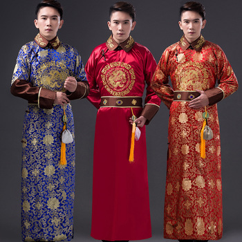 High Quality  Men Qing Dynasty Costume Chinese Traditional Emperor Clothing for Stage Male Tang Robe Clothes Folk Outfit Wear 89