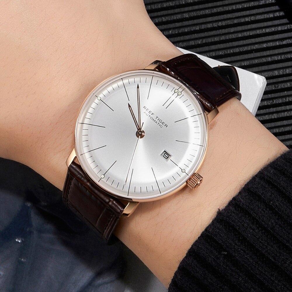 2018 Риф Тигр/RT верхней полосы Элитная одежда часы для Для мужчин розовое золото автоматические часы коричневый кожаный ремешок RGA8215