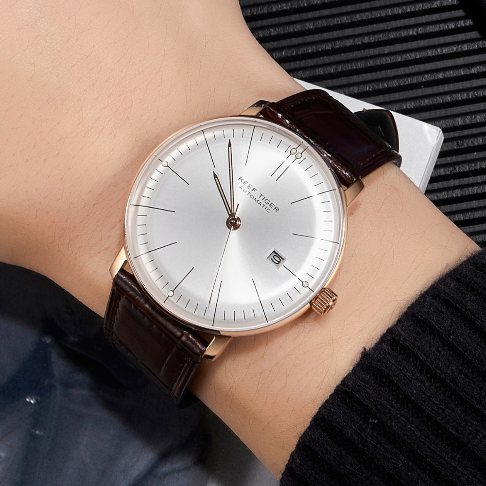 2019 Reef Tiger/RT Top Band Luxury Dress Watch for Men Rose Gold Automatic Watches Brown Leather Strap RGA82152019 Reef Tiger/RT Top Band Luxury Dress Watch for Men Rose Gold Automatic Watches Brown Leather Strap RGA8215