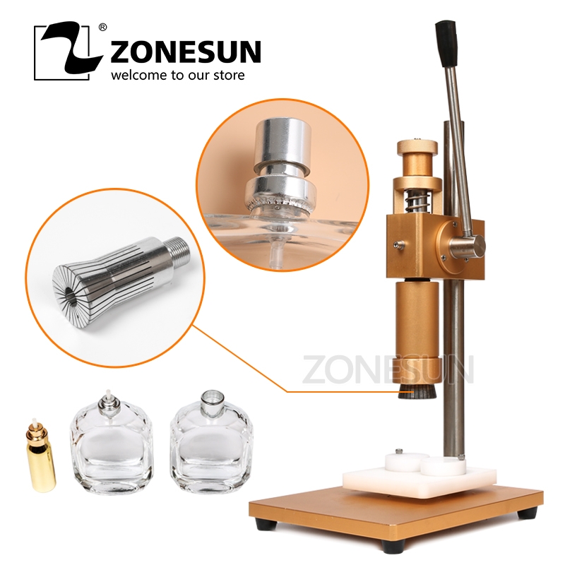 ZONESUN manual crimping machine+capper+ metal cap press machine+capping machine, perfume crimper, spray crimper applicatori di etichette manuali