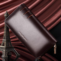 New Mens 100% Genuine Leather Business Long Wallet Man Male 2015 Luxury Band Clutch Wallet Phone Bag Pockets Handbag Purses