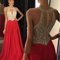 Vestido de Noite vermelho 2017 O-Neck Frisada de Cristal Elegante Longo e tomada Azul Royal Uma Linha de Vestidos de Baile Para O Casamento das Mulheres partido