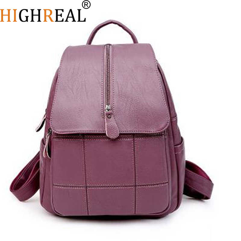 a589d5a266 HIGHREAL Women s Backpacks Genuine Leather Students School Bags Teenagers  Girls Small Backpacks Women Travel Bag Mochila
