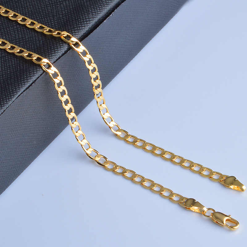 MEEKCAT 20 inch 4mm Slim 18 K Stamp Gold Color Curb Chain Link Necklaces Men Jewelry Hiphop collares kolye Collier ketting