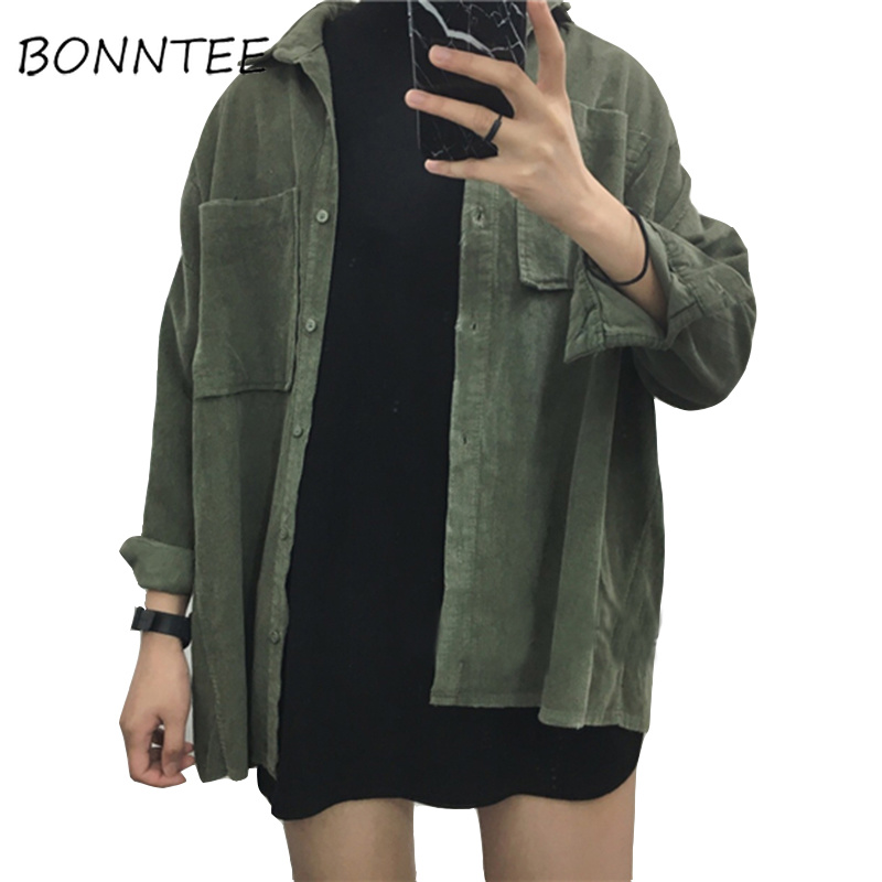 Fashion Women New Corduroy Turn-down Collar Females Cotton Loose Womens Solid Color Overcoat Wind Jacket Ladies Female Jackets
