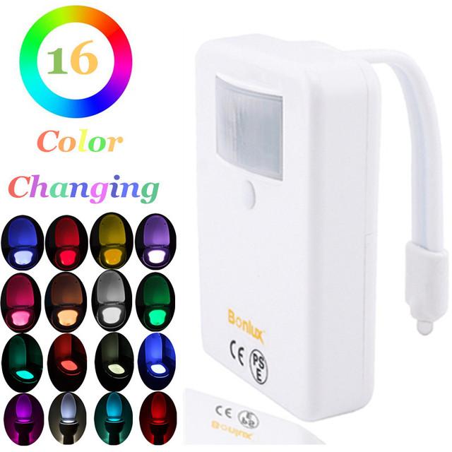 Sensor de movimiento de Luz Colorida de la taza del Inodoro Higiénico Doméstico Baño Activado Por Movimiento Regulable LED Luz de La Batería Operado Luz de La Noche
