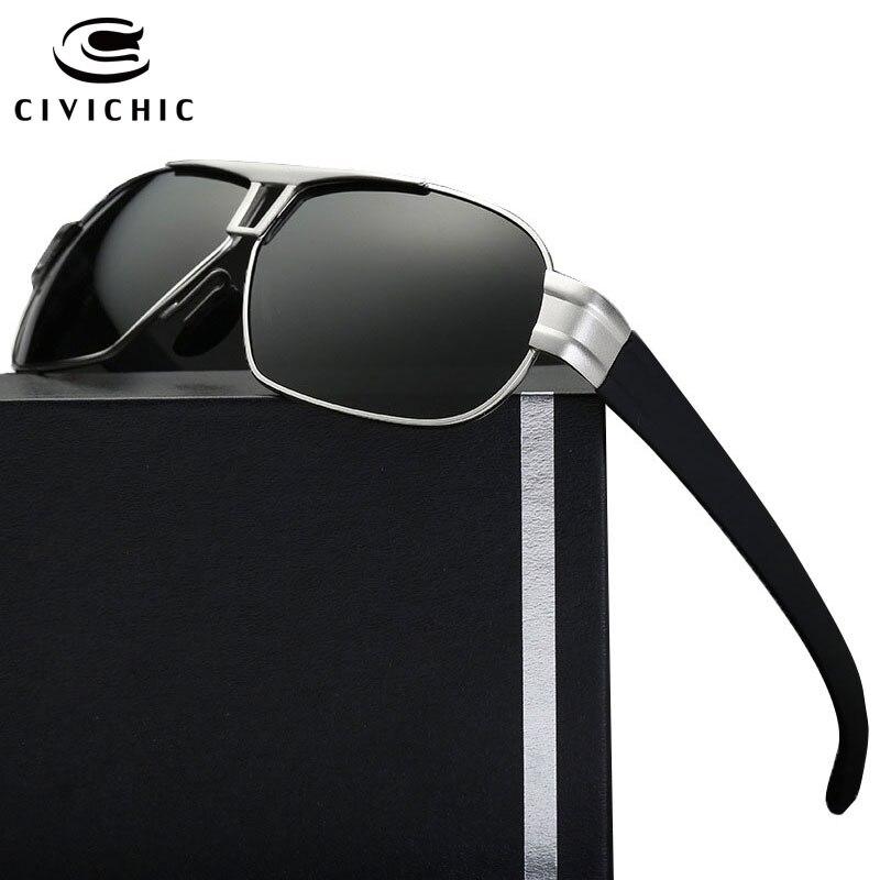 CIVICHIC Stylish Men Polarized Sunglasses Brand Designer Classic Eyewear Blue Film Plated Oculos De Sol HD Driving Lunettes E179