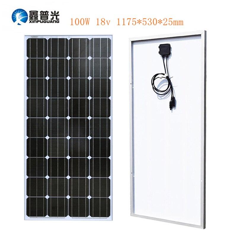 Xinpuguang 100 Вт 18 В Панели солнечные Стекло Алюминий монокристаллического клетки фотоэлектрических модулей комплект MC4 12 В Батарея RV свет крыши ...