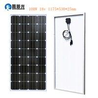 Xinpuguang 100 Вт 18 В Панели солнечные Стекло Алюминий монокристаллического клетки фотоэлектрических модулей комплект MC4 12 В Батарея RV свет крыши