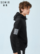 купить SEMIR Men Embroidered Hooded Sweatshirt Pullover Hoodie with Applique at Sleeve Stylish Sport Sweatshirt with Kangaroo Pocket дешево