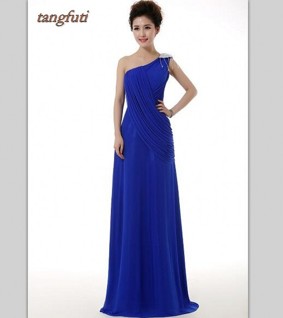 Real Photos One Shoulder Royal Blue Backless Bridesmaid Dresses With ...
