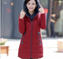 European Winter New Fashion Women Cotton-padded Elegant Hooded Thickening Super Warm Cotton Coat Slim Big yards Loose Coat G1963