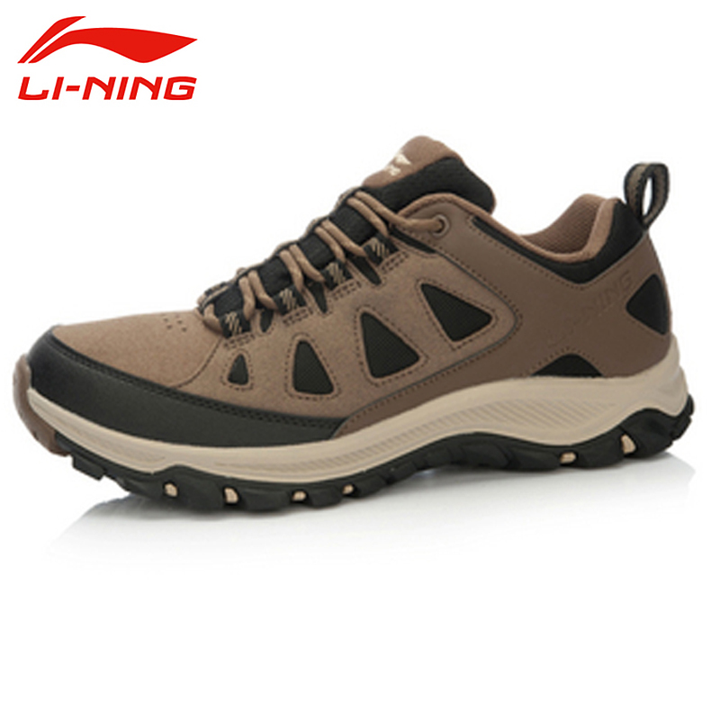 ФОТО LI-NING Outdoor Hiking Shoes Light Wearable Breathable Climbing Walking Trekking Shoes Sport Shoes Men Sneakers AHTL001 XYD108