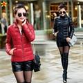 L-5XL Plus Size Mulheres Casuais Jaquetas Finas 2016 Outono Inverno Gola de forma Magro Quente Para Baixo Casacos Extra Grande Venda Quente