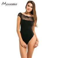 Missomo 2016 New Fashion Women Black Lace Sexy Sweet Elagant One Shoulder Neckline Bateau Soft Bodysuit