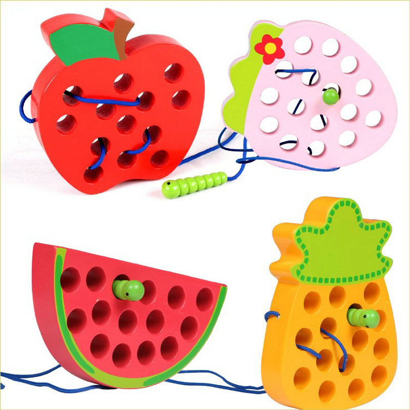 Fruit Insect Models Lacing Card Rope Toys, Children's Wooden Toy Teaching Learning While Playing Creative Rope Game Montessori