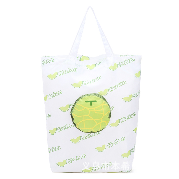Green Fruit Melon Reusable Folding Shopping Bags Portable Large Oxford Bags Thick Bag Waterproof Ripstop Shoulder Bag Handbag