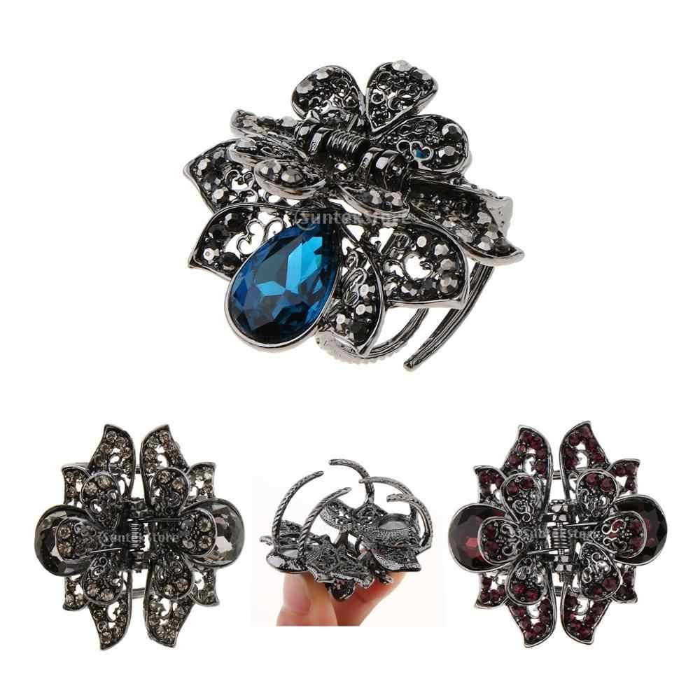 ヴィン爪カニ金属顎ヘアクリップ蝶の髪爪クリップ女性小さなヘアピン女性のためのクランプ