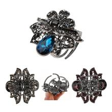 Vintage Crystal Hair Claws Crab Metal Jaw Hair Clips Butterfly Hair Claw Clip Women Small Hairpins Clamps for Ladies metal rhinestones hair clip vintage bronze plating butterfly hair claw retro flower hairgrip women hair jewelry