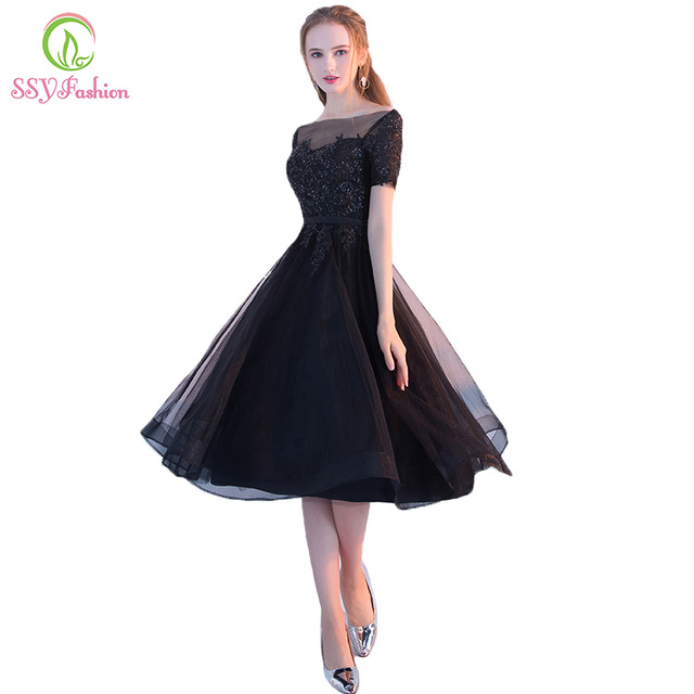 Ssyfashion New The Banquet Elegant Little Black Dress Bride Lace Liques Short Sleeeves A Line