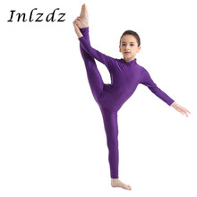 Kid Girls Ballet Leotard Costume Gymnastics Swimsuit for Dancing Long Sleeves Childrens Dancewear Bodysuit