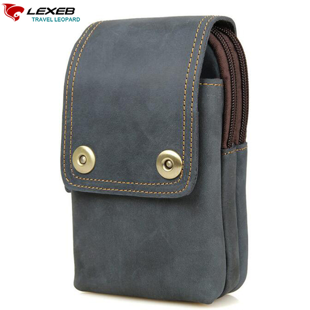 Lexeb Designer Saco De Couro Genuíno Para Homens Cintura Packs Alta qualidade do couro marrom caso tampa do telefone móvel iphone 6 s plus sacos