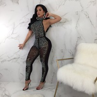 Hot Rhinestone Women Sexy Club Bodysuits Sequin Women Fashion Halter Backless Jumpsuits
