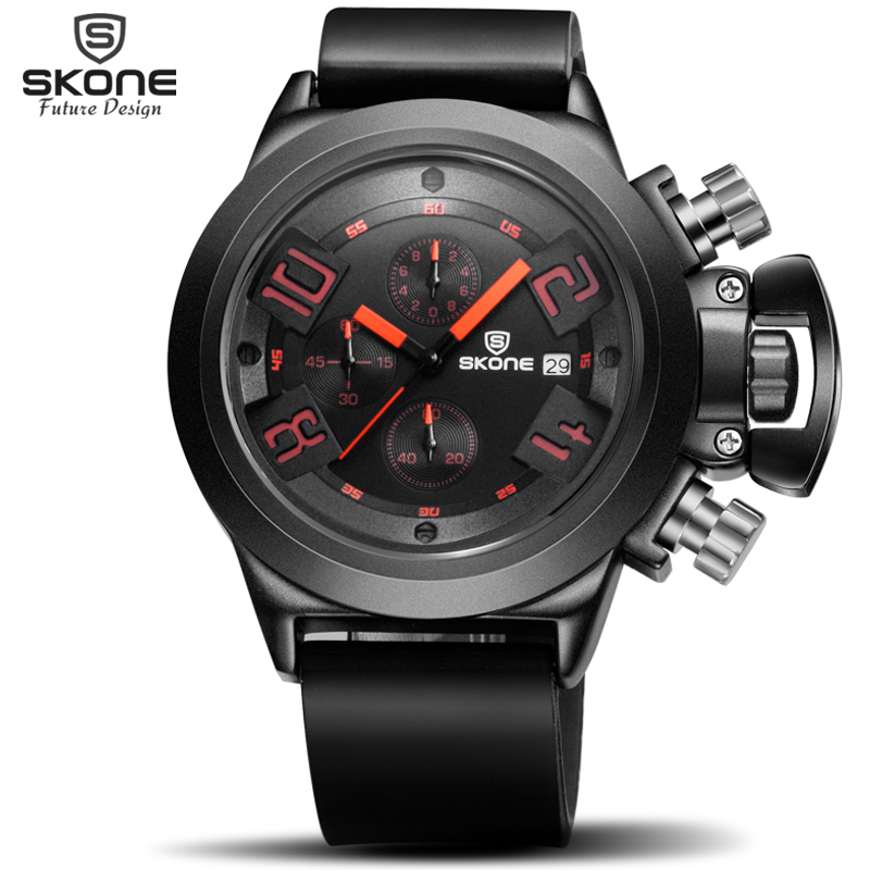 SKONE Brand Men's Popular Watches Date Chronograph Sport Watch Men Guaranteed Military Watch Silicone Wristwatch Fashion Relogio skone relogio 9385