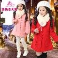 Девушки одежда 2016 зима средней длины девочка шерстяное пальто средней длины утолщение мягкий меховой воротник детей пальто
