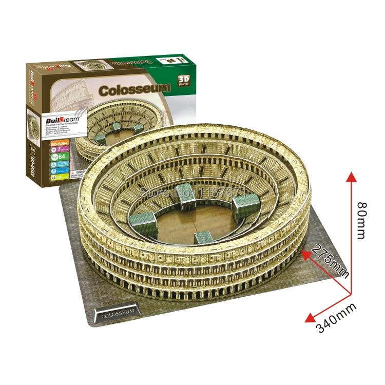 Paper Model Diy Roman Colosseum Enlighten blocks Construction Brick Educational Block Toys Children scale models Sets