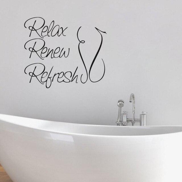 relax refresh renew bathroom wall quote art vinyl decal sticker waterproof wallpaper for bathroom