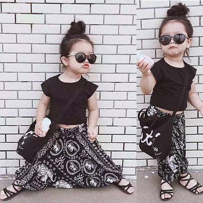 0-5T Newborn Toddler Kids Baby Girls Boys Clothes Fashion T-shirt Tops+ Flower Harem Pants 2PCS Outfit Clothing Set flower sleeveless vest t shirt tops vest shorts pants outfit girl clothes set 2pcs baby children girls kids clothing bow knot