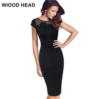 WIOOD HEAD Women Sexy Elegant Floral Crochet Lace Ruched Party Evening Sheath Special Occasion Bridemaid Mother