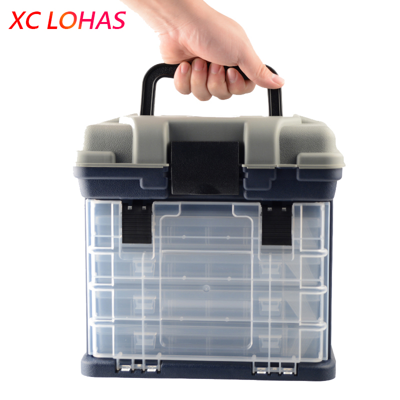 27 17 26cm 5 Layer PP ABS Big Fishing Tackle Box High Quality Plastic Handle Fishing
