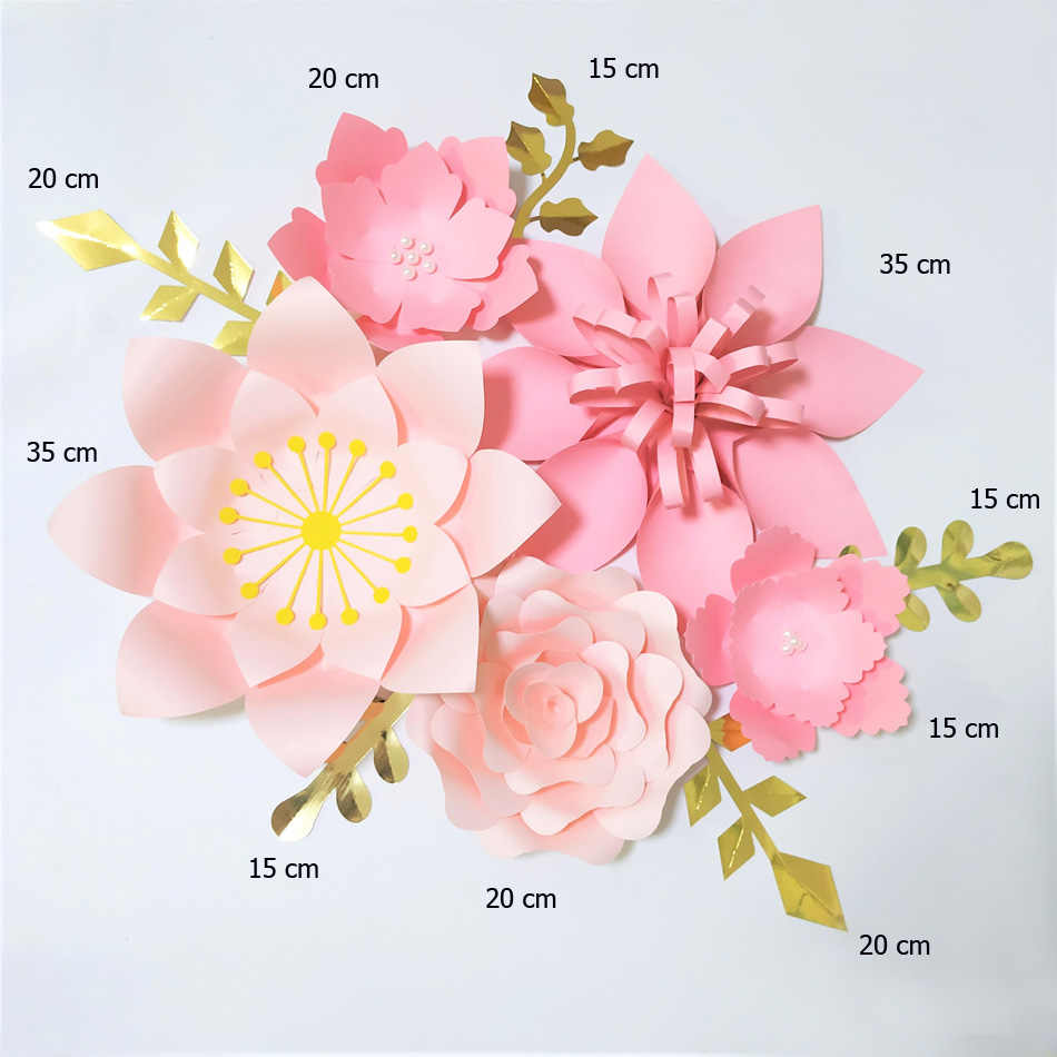 Handmade Pink Rose Easy Diy Paper Flowers Gold Leaves Set For Nursery Wall Deco Girls Room Baby Shower Backdrop Video Tutorials