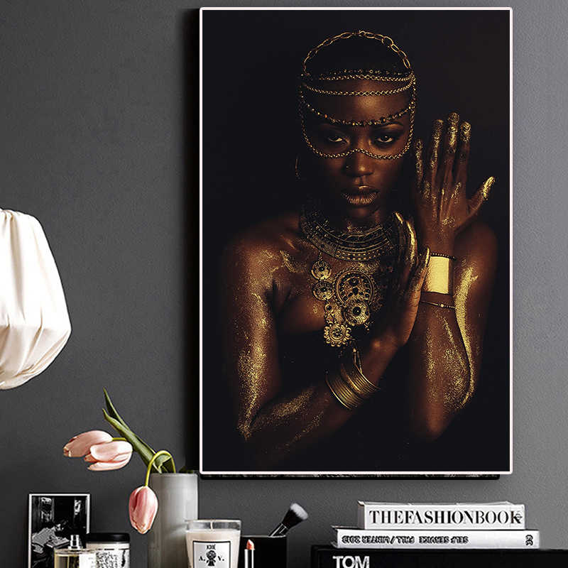 Modular Pictures Prints Poster Canvas Painting Black and Gold Nude African Woman With Necklace Wall Art Home Decoration Framed