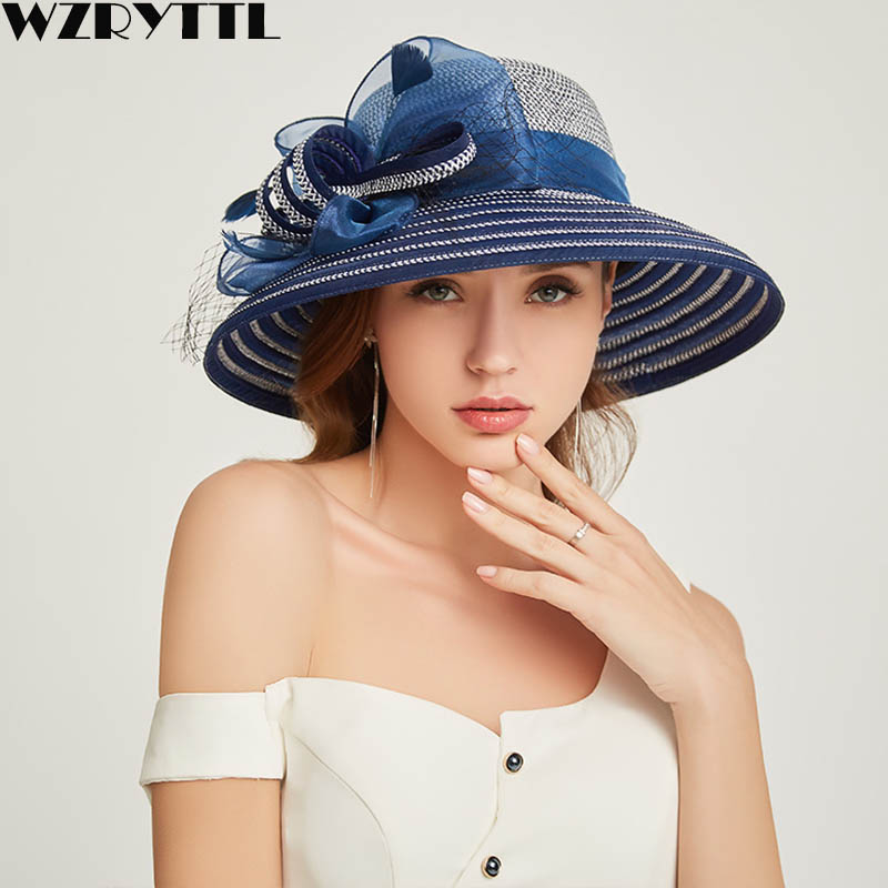 Women's Kentucky Derby Hat Luxury Wide Brim Floral Feather Aside Patchwork Paper Straw Sun Hat Summer Church Party Wedding Hat